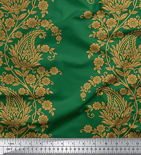Soimoi Floral Paisley Printed 58 Zoll breit Baumwoll Voile-Gewebe-Fertigkeit Material durch den Meter-Dark Green - Voile Paisley