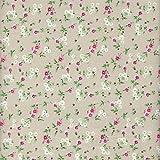 100% Baumwolle Stoff | Beige (Grünbeige) | Kleine Blumen |