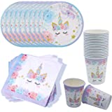 Kit di Articoli per Feste Unicorno, Servono 16 Ospiti Feste Unicorno per Bambini Festa di Compleanno Baby Shower 16* Tazze 16