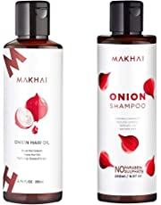 Makhai Onion Hair Oil and Onion Shampoo Combo with Red Onion Extract for Dandruff and Hair Growth