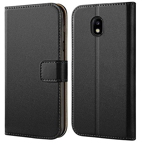 Galaxy J3 (2017) Hülle, Verco Handyhülle für Samsung Galaxy J3 Tasche PU Leder Flip Case Brieftasche - Schwarz