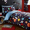 Kidz Club Planets Single Bed Duvet cover and Pillowcase Bed Set Bedding for Boy's Sun Mars and Moon, Black produced by Bedmaker - quick delivery from UK.