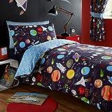 Juego de funda de edredón de tamaño individual y fundas de almohada para niños Kidz Club, diseño de planetas, color azul oscuro