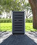 1 Mülltonnenbox Modell No.6 Anthrazitgrau für 120 Liter Mülltonnen / witterungsbeständig durch Pulverbeschichtung / mit Klappdeckel und Fronttür