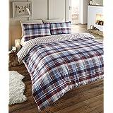 Angus - Juego de ropa de cama de franela para cama doble, funda nórdica y 2 fundas de almohada, diseño de cuadros en azul, rojo, blanco y azul marino