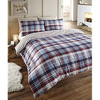 angus flanelette king size quilt bettbezug und 2 kissenbez ge bettw sche set tartan karo blau. Black Bedroom Furniture Sets. Home Design Ideas