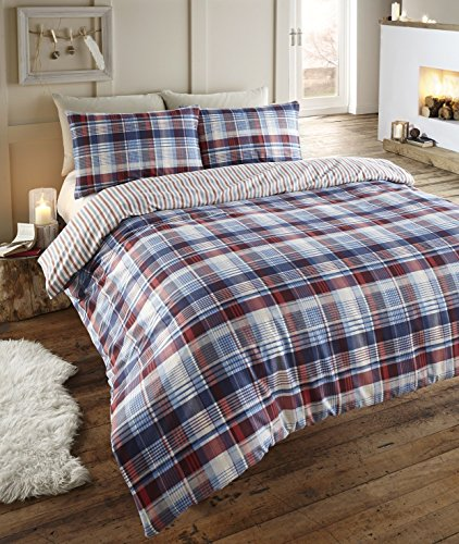 Angus Flanelette King Size Quilt Duvet Cover and 2 Pillowcase Bedding Bed Set, Tartan Check Blue Red/White/Navy