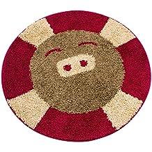 DT-ZZZ Más grueso alfombra redonda niño Estudio en el hogar Pasillo Escritorio de la computadora Silla giratoria Absorción de agua Alfombra antideslizante alfombra (90 × 90cm) Suave para la piel ( Color : Rojo )