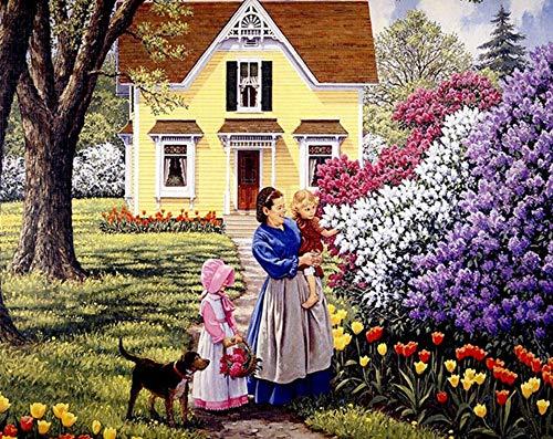 PAAANING Rahmenloser Patio-Garten-Mutter und Tochter lieben das Malen nach Zahlen, die durch Zahlen färben