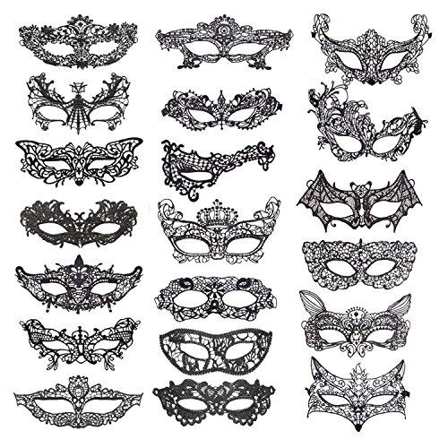 he Maske 20er Set Damen Herren - perfekt für Fasching, Karneval & Maskenball - Kostüm für Erwachsene - Unisex Einheitsgröße ()