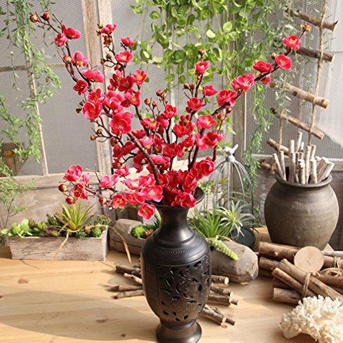 Elecenty Künstliche Blumen Pflaumenblüte Pfirsich Unechte Blumen,Hohe Simulation Bouquet Gefälschte Blatt Kunstseide Blumen Kunstpflanze Kunstblumen Zum Party Home Deko (93cm, Pink)