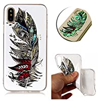 iPhone X Case, Vandot iPhone 10 Night Luminous Cover Transparent Silicone Shell Soft Flexible Phone Skin Non-Slip Anti-Scratch Protective Bumper Glowing in the Dark for iPhone X / iPhone 10 5.8 inch-Colorful Aztec Abstract Feather