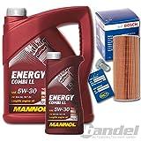 1x Oelwechsel Set Paket 1x 6LMANNOL Energy 5W30LL 1x Verschlussschraube, Oelwanne1x Oelfilter ( Bosch )1x Oelwechselanhaenger
