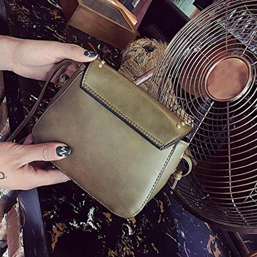 BZLine® Frauen Schultertasche aus Leder Nieten Handtasche Crossbody tasche, 17cm*15cm *6cm Grün
