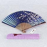 Uchiwa Japanisches Fächer-Geschenkset Pearl-Sakura dunkelblau