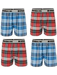 4 gewebte Boxershorts mit bequemen breitem Textbund Original MioRalini 100% Baumwolle Boxershort WebBoxer Herren Boxers Jungen Mann M L XL 2XL 3XL 4XL