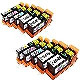 10x kompatible Druckerpatronen Lexmark 100 in den Farben: 4x Schwarz, 2x Cyan, 2x Magenta, 2x Gelb für Drucker Lexmark Prevail Pro 705 Hohe Kapazität