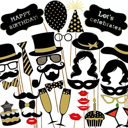fotorequisiten Veewon Geburtstagsfeier Fotorequisiten Foto Booth Props 35pcs DIY Kit Geburtstagstorte, Happy Birthday Zeichen, Schnurrbart, Gläser, Krawatten, Lippen für Geburtstagsfeier