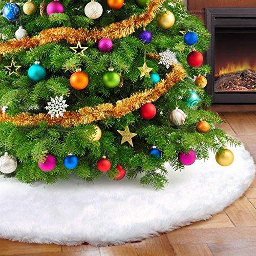 122cm Luxus Faux Pelz Weihnachtsbaum Rock Herrlicher und eleganter Weißer Baum-Rock für Weiß-Schnee-Weihnachtsthema-Verzierung (Baum-rock Schnee)