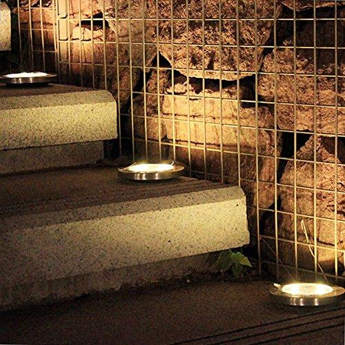 Solarleuchten Garten, 4 Stück 8LED Solar Leuchte außen Garten Solarleuchte Wasserdichte Solar Bodenstrahler Garten Landschaftslichter für Rasen Weg Hof Fahrstraßen, Warmweiß Lichtfarbe