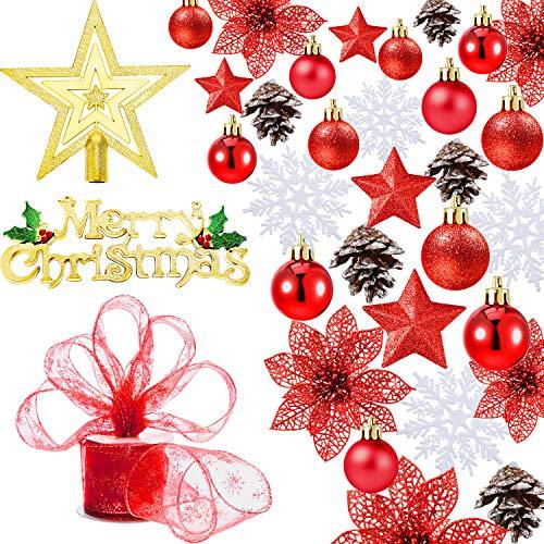Boao 72 pezzi ornamenti di palline di natale, decorazioni per l'albero di natale a tema, compresi i fiocchi di neve, pigne, palle di natale, stella, nastro, fiore dell'albero di natale (rosso)