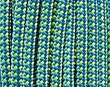 RETRIEVERLEINE | MOXONLEINE | Hundeleine 'Sporty', blau-gelb-points, 6 mm OHNE Zugstop, mit Hirschhornstop | geflochtene Hunde-Leine mit integriertem Halsband | Agilityleine | Retriever-Leine (180 cm)