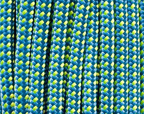 RETRIEVERLEINE | MOXONLEINE | Hundeleine 'Sporty', blau-gelb-points, 140 cm x 6 mm MIT Zugstop, mit Hirschhornstop | geflochtene Hunde-Leine mit integriertem Halsband | Agilityleine | Retriever-Leine