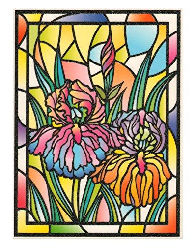 Tiffany Lilie (Fensterbild Tiffany Optik Lilie Blumen einseitig zart beglimmert Fensterdekoration Folie Fenstersticker Aufkleber)