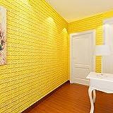 Bovake PE-Schaum 3D-Tapete DIY Wand-Aufkleber-Wand-Dekor prägeartiger Ziegelstein-Stein (Yellow)