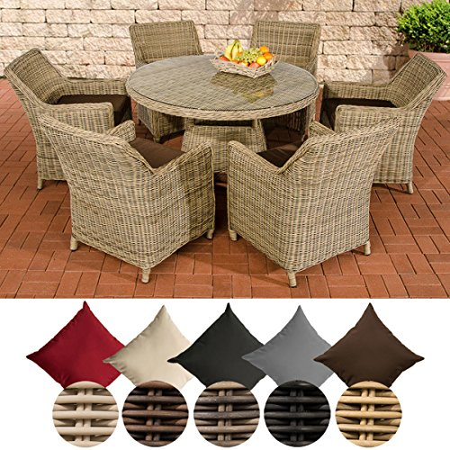 CLP Polyrattan Sitzgruppe GINOSA | Garten-Set: EIN runder Esstisch mit Glasplatte und sechs Stühle | In verschiedenen Farben erhältlich Rattan Farbe Natura, Bezugfarbe: Terrabraun