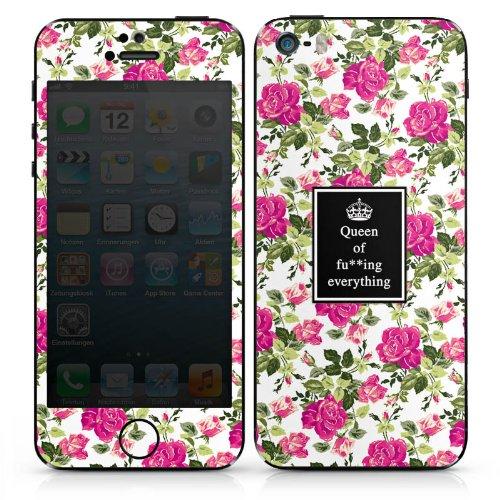 Apple iPhone SE Case Skin Sticker aus Vinyl-Folie Aufkleber Queen Sprüche Blumen Muster DesignSkins® glänzend
