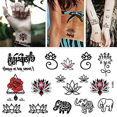 TOAOB Pack of 6 Sheets Animals elephants and red lotus flower Waterproof Glitter Flash Temporary Tattoos Removable Childrens Tattoo