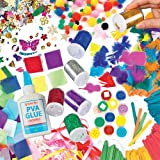 Collage Craft Super Value Pack! Save 26% when bought in pack. Includes: 500 mini pom poms, 200 coloured wooden craft sticks, 130 collage feathers, 4000 mini tissue squares, 200 self-adhesive craft buttons, 75g assorted ribbons, 80g sequins, 6 coloured 15g glitter shakers, 3 mini bottles of washable PVA glue.
