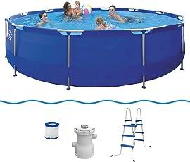 Jilong Sirocco Blue 420 Set - Stahlrahmenbecken Durchmesser 420 x 84 cm, Pool mit Kartuschen-Filterpumpe, Leiter, blau, 9495 L, 17542DE