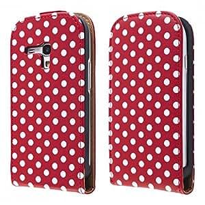 ECENCE 14030402 Samsung Galaxy S3 mini i8190 handy tasche flip case klapp schutz hülle cover retro rot weiss gepunktet inklusive Displayschutzfolie