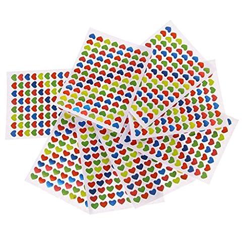 10pcs Mini Autocollants Amovibles Multicolores Forme Coeur / Sourire Récompense d