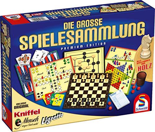 Schmidt Spiele 49125 Die Große Spielesammlung, alle Spielfiguren aus Holz, bunt (Leder-würfel-box)
