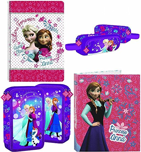 Disney frozen - la regina delle nevi astuccio a scomparti, astuccio portapenne, raccoglitori ad anelli e blocco; lilla, rosa, blu