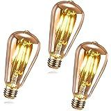 RANJIMA Ampoule LED E27 Vintage, 3 Pièces Ampoule LED Edison E27 ST64 LED Ampoule Decorative Lampe Décorative Rétro 4W Filame