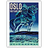 Oslo, Norwegen, 900 Jahre alt 1950 - Vikinger auf Island Pferd - Vintage Retro Welt Reise Plakat Poster von A.O. Brunn c.1950 - Kunstdruck - 23cm x 31cm