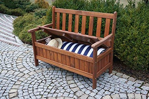 dobar Gartenbank Massive mit Lehne 2-Sitzer aus FSC Holz, 115 x 58 x 89 cm, braun - 10