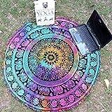 Goodsatar Gasa Redondo playa Piscina Casa  Manta de la toalla de la ducha  Estera de yoga de tela de mesa  Multi Color Disponible (Multicolor 01)