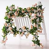 Guirlande de rose Rose artificielle Vigne avec feuilles vertes 160cm Lot de 3Guirlande de fleurs pour mariage Home Decor