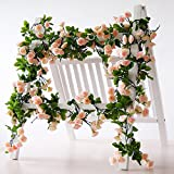 Rose Garland Künstliche Rose Vine mit grünen Blättern 160 cm Blumen Girlande für Zuhause Hochzeit Decor 3 Stück rose