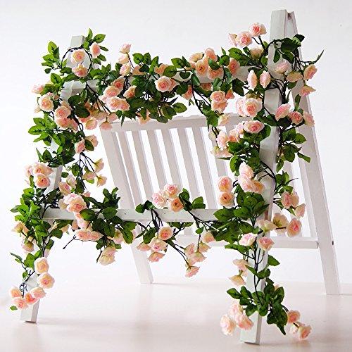 Rose Garland Künstliche Rose Vine mit grünen Blättern 160 cm Blumen Girlande für Zuhause Hochzeit Decor 3 Stück rose (3 Stück Rattan Körbe)