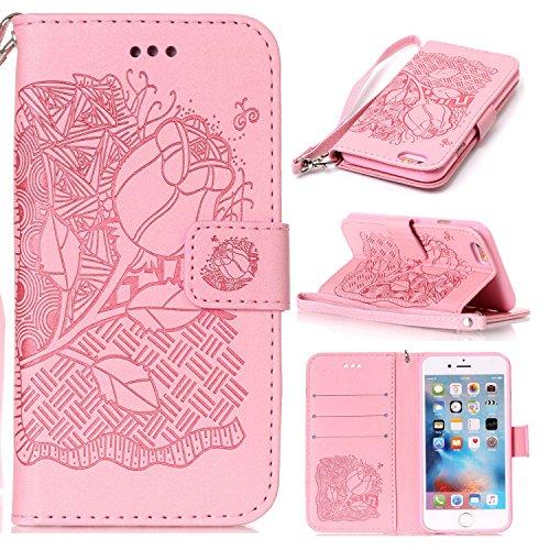 iPhone 6S Plus Hülle,iPhone 6 Plus Hülle,SainCat PU Leder Brieftasche Hülle im BookStyle Wallet Case Lederhülle Folio Schutzhülle Muster Schrubben Ledertasche Hülle Bumper Handytasche Skin Schale Soft Rose-Rosa