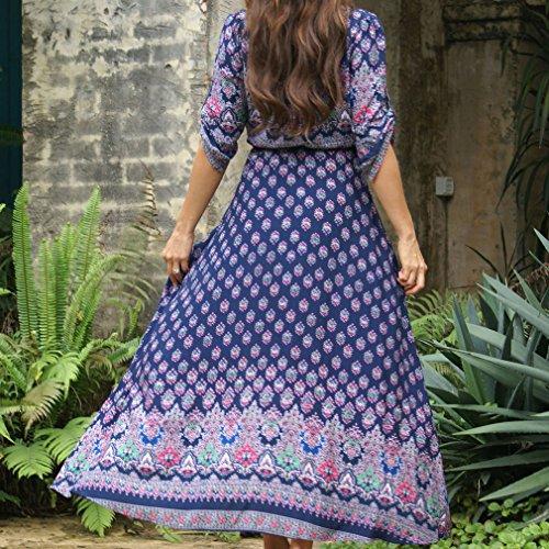 Honghu Damen Elegant Bohemian Druck Lang Kleid Seebad Sandstrand Spliss Dress Violett