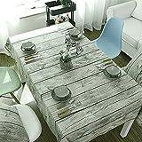 Candora® Tischdecke, Baumwolle, Vintage-/Retrodesign, bedruckt, Motiv: Holzmaserung, für Esstisch, Party, Hotel, Küche, Restaurant, braun, 140X180cm/55*70In
