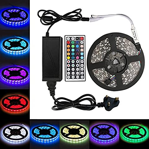 Led Strip Lights RGB Full Kit SMD5050 16.4Ft 300leds Waterproof Colour Changing Flexible Tape Light with 44 Key IR Remote Controller for Home Garden Lighting Christmas