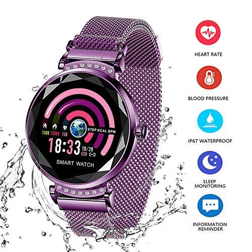 AGKupel Smart Armband für Damen H2 Fitness Tracker Armband mit Pulsmesser Smartwatch Blutdruck Herzfrequenz Schlafmonitor Schrittzähler Wasserdichte IP67 Farbbildschirm für Frauen Android iOS(Violett)